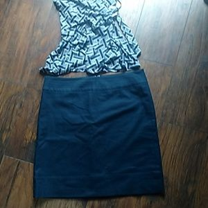 Talbots Navy blue midi skirt sz 8